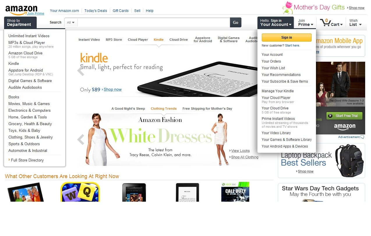amazon online shopping and amazon com Shop online for electronics, computers, clothing, shoes, toys, books, dvds, sporting goods, beauty & more.