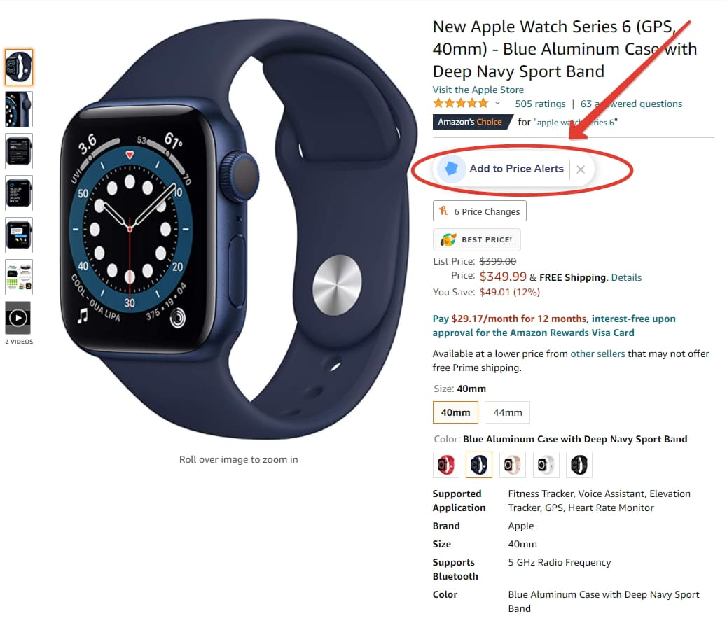 Add to price alerts invisiblehands in amazon
