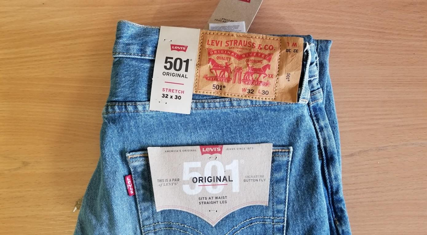 Levis Mens 501 Original Fit Jean the Ben Stretch
